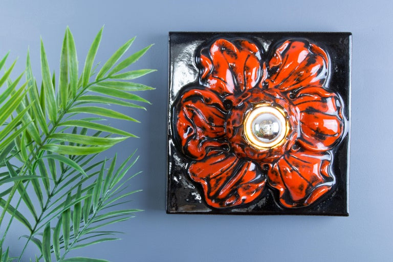 German Ceramic Red and Black Flower Shaped Square Wall or Ceiling Lamp, 1960s For Sale 14