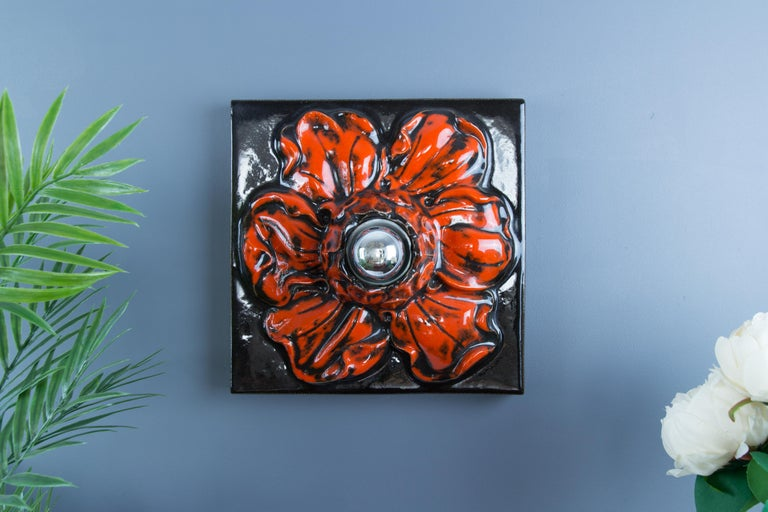 German Ceramic Red and Black Flower Shaped Square Wall or Ceiling Lamp, 1960s For Sale 15