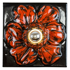 German Ceramic Red and Black Flower Shaped Square Wall or Ceiling Lamp, 1960s