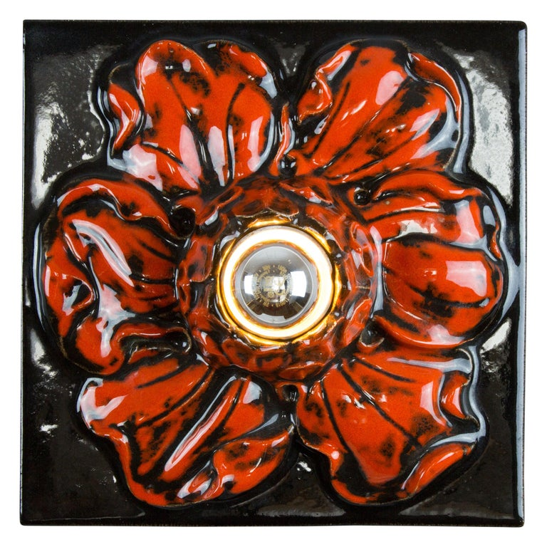 German Ceramic Red and Black Flower Shaped Square Wall or Ceiling Lamp, 1960s For Sale