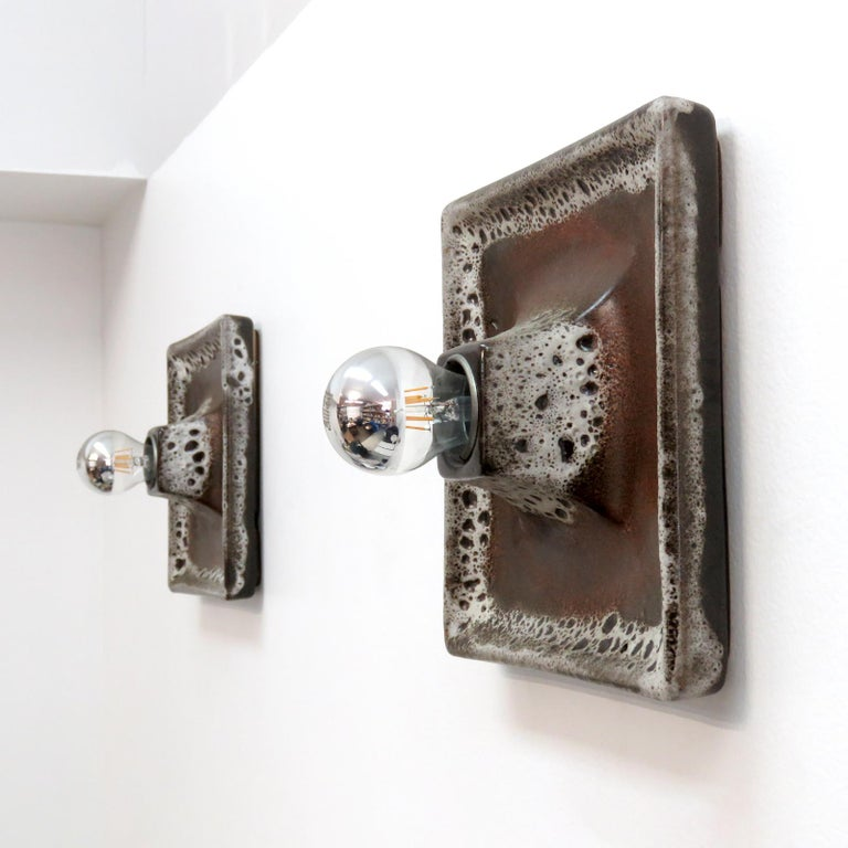 German Ceramic Wall Lights, 1960 In Good Condition For Sale In Los Angeles, CA