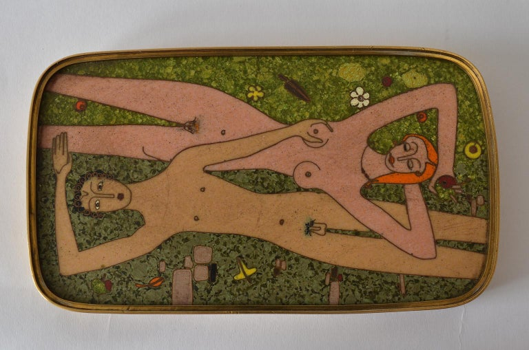 German Cloisonné Enamel Brass Box, Scene Nude Lovers in a Greenfield Midcentury 11