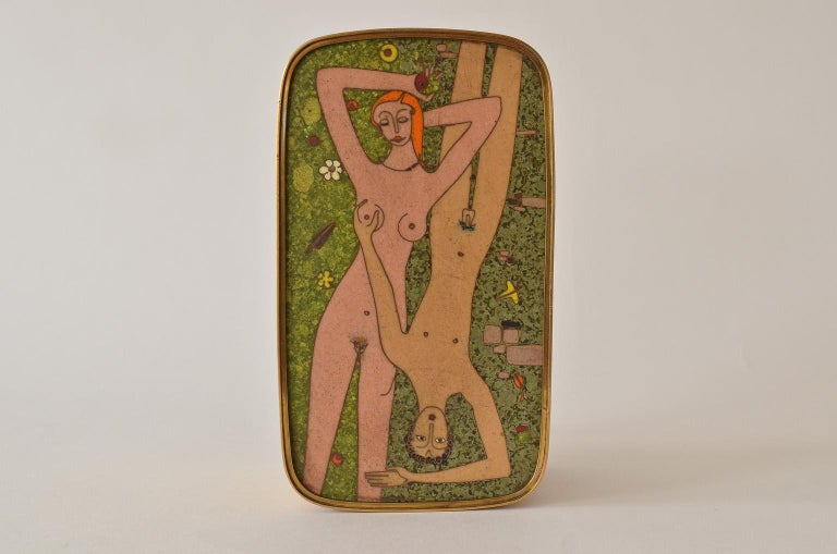German Cloisonné Enamel Brass Box, Scene Nude Lovers in a Greenfield Midcentury 4