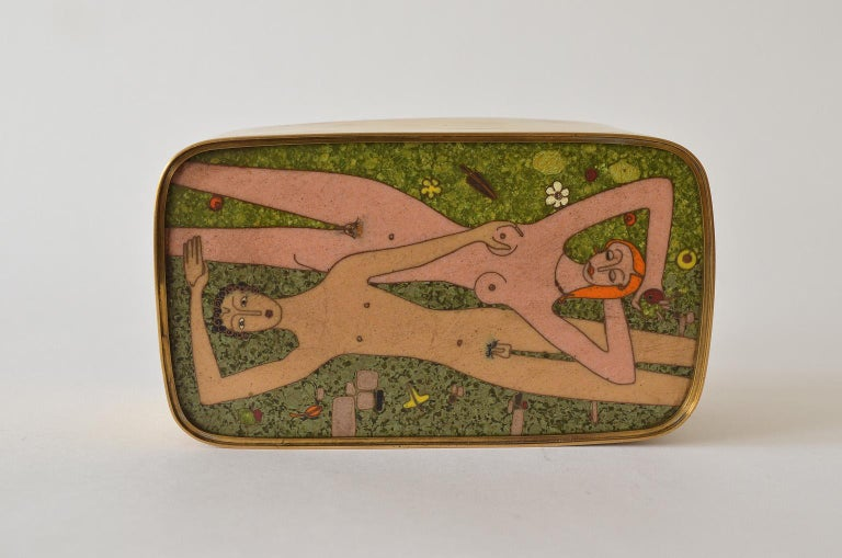 German Cloisonné Enamel Brass Box, Scene Nude Lovers in a Greenfield Midcentury 5