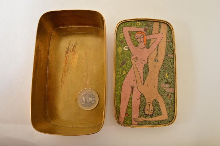 German Cloisonné Enamel Brass Box, Scene Nude Lovers in a Greenfield Midcentury 6