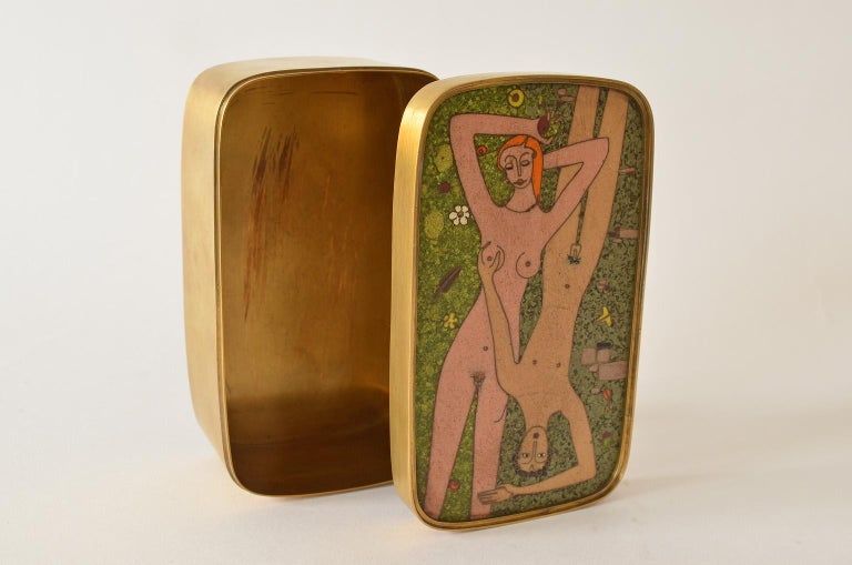 German Cloisonné Enamel Brass Box, Scene Nude Lovers in a Greenfield Midcentury 7