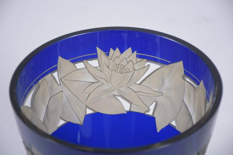 German Cobalt Blue Crystal Vase For Sale 4