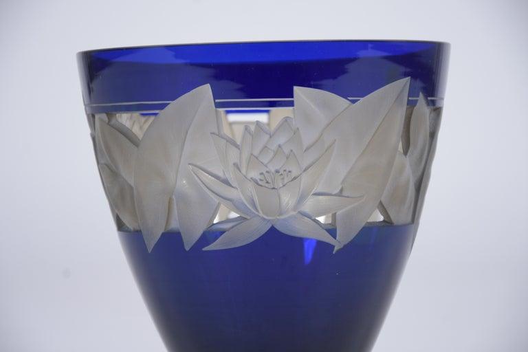 Hand-Crafted German Cobalt Blue Crystal Vase For Sale