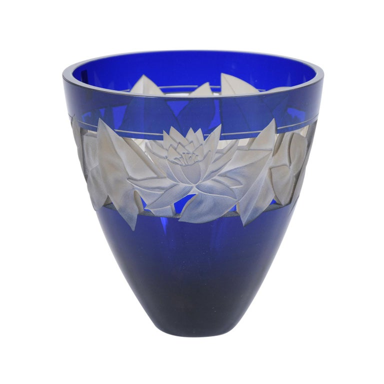 German Cobalt Blue Crystal Vase In Good Condition For Sale In Los Angeles, CA