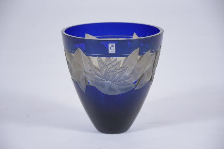 Late 20th Century German Cobalt Blue Crystal Vase For Sale