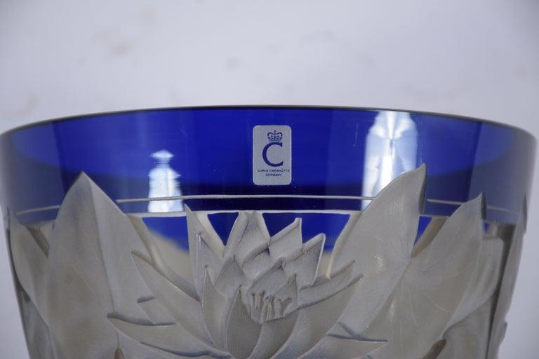 German Cobalt Blue Crystal Vase For Sale 1