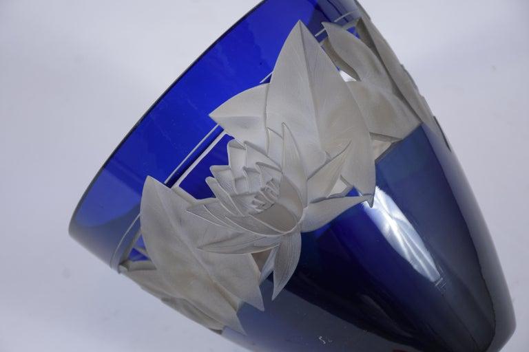 German Cobalt Blue Crystal Vase For Sale 2