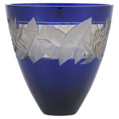 German Cobalt Blue Crystal Vase