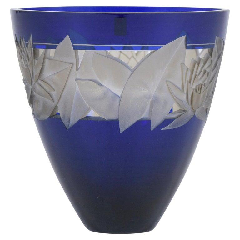 German Cobalt Blue Crystal Vase For Sale