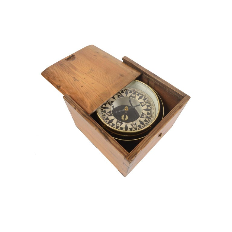 Mid-19th Century German Compass in Its Original Wooden Box with Slot Lid, 1860 For Sale