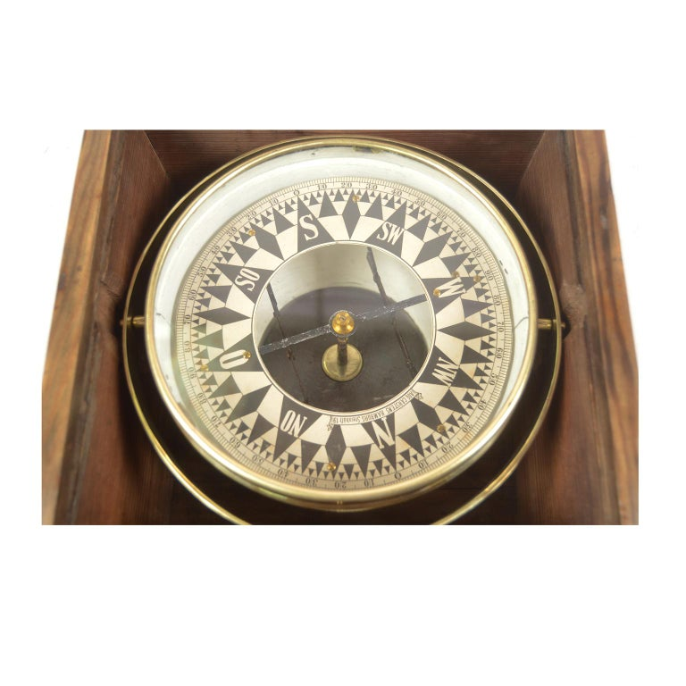 German Compass in Its Original Wooden Box with Slot Lid, 1860 For Sale 1