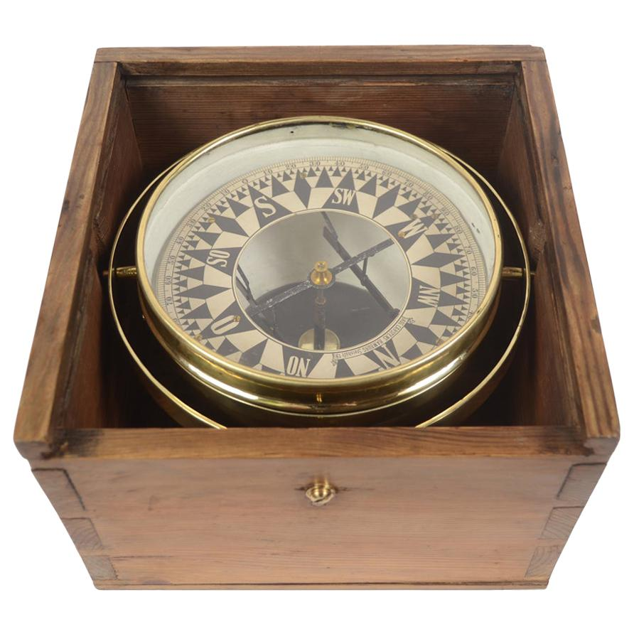 German Compass in Its Original Wooden Box with Slot Lid, 1860