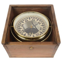 1860 German Magnetic Nautical Compass in Its Original Wooden Box with Slot Lid