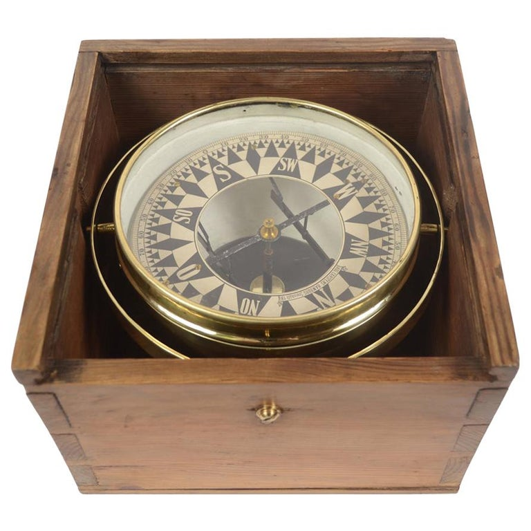 German Compass in Its Original Wooden Box with Slot Lid, 1860 For Sale
