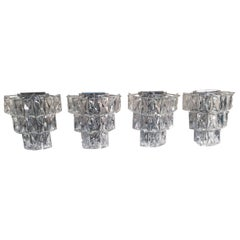 German Crystal Glass and Chrome Sconces from Kinkeldey, 1960s, Set of Four