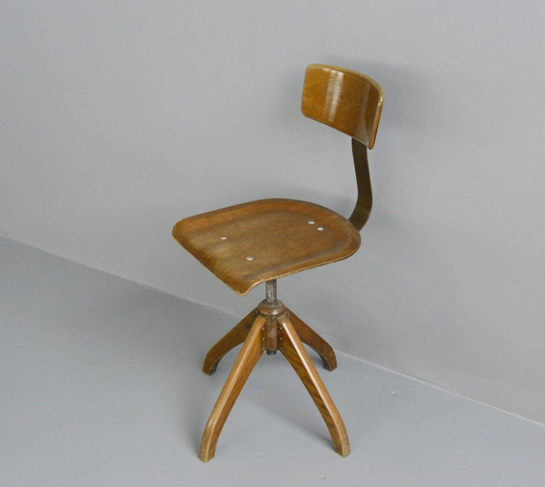 Beech German Desk Chair by Ama Elastik, circa 1930s For Sale