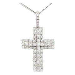 German Diamond and White Gold Cross Pendant