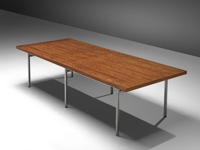 Dining table, rosewood and chromed steel, Germany, 1960s