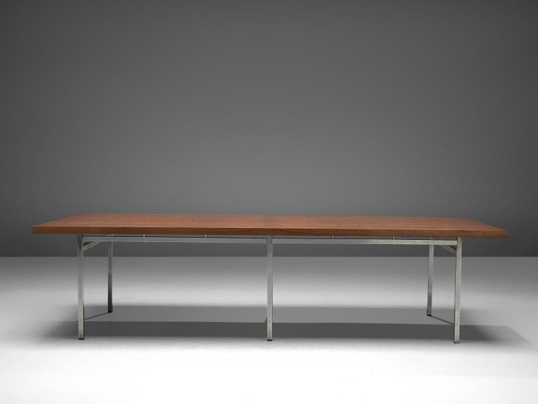 German Dining Table in Rosewood and Chromed Steel In Good Condition For Sale In Waalwijk, NL