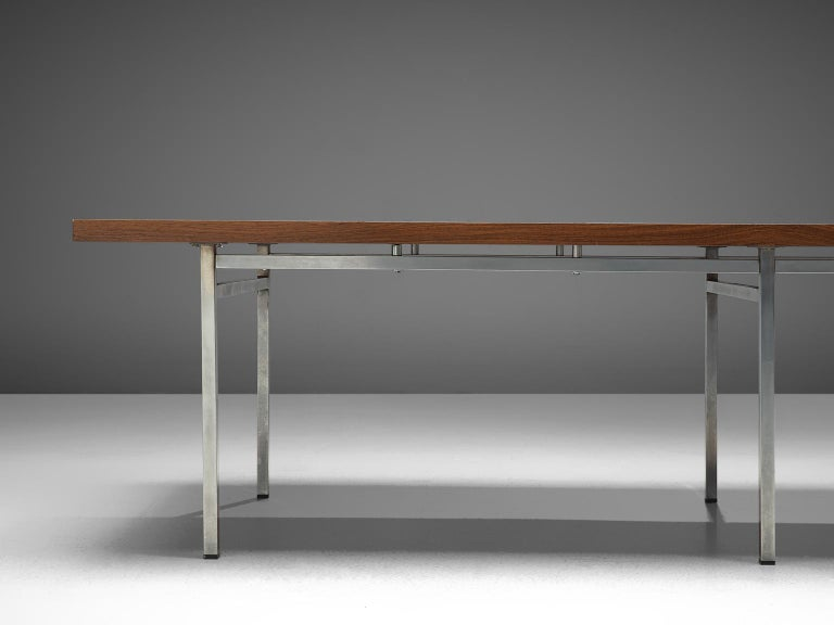 Mid-20th Century German Dining Table in Rosewood and Chromed Steel For Sale