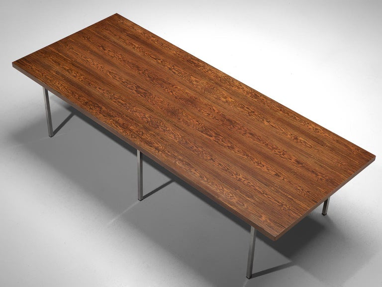 German Dining Table in Rosewood and Chromed Steel For Sale 3