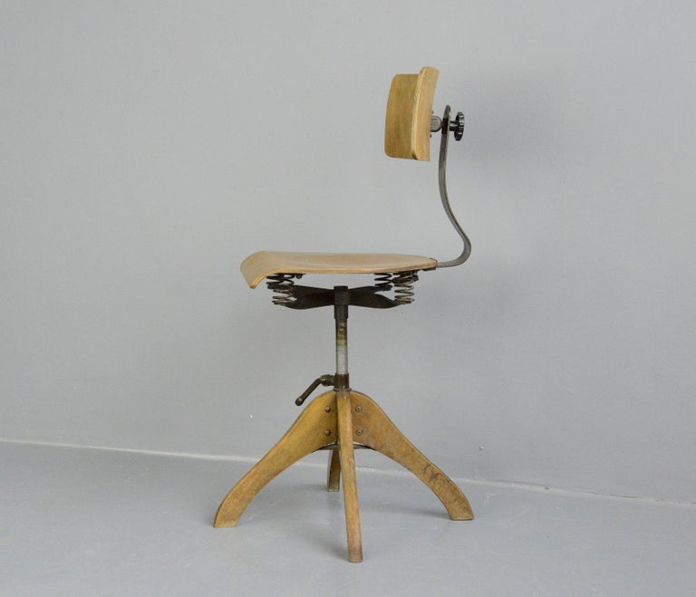 Industrial German Draftsman's Chair by Polstergleich, circa 1930s For Sale