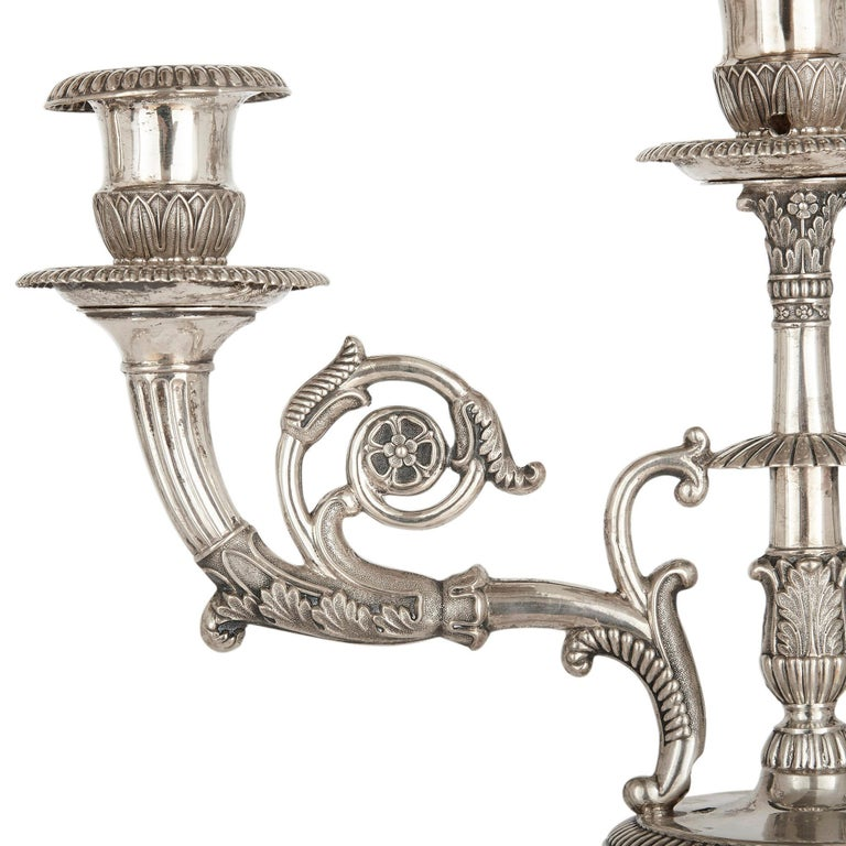 German Empire Period Seven-Piece Silver Candelabra Set For Sale 13