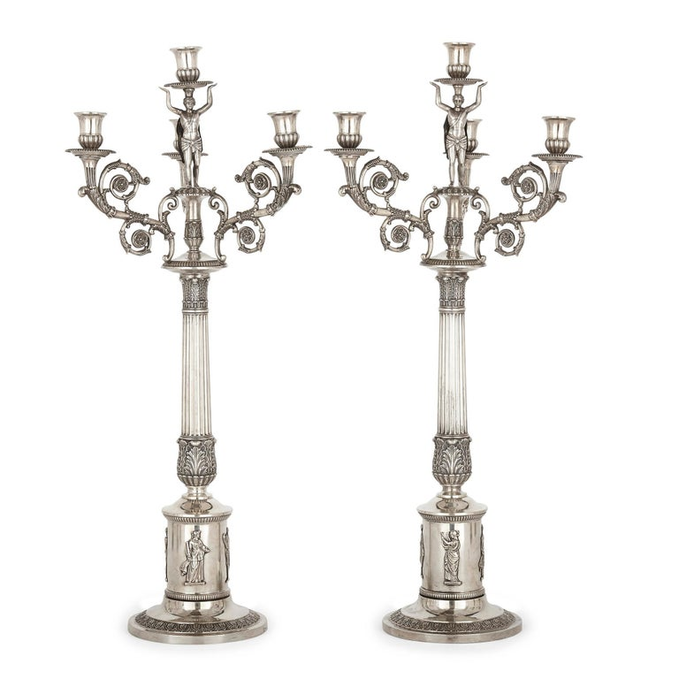 German empire period seven-piece silver candelabra set