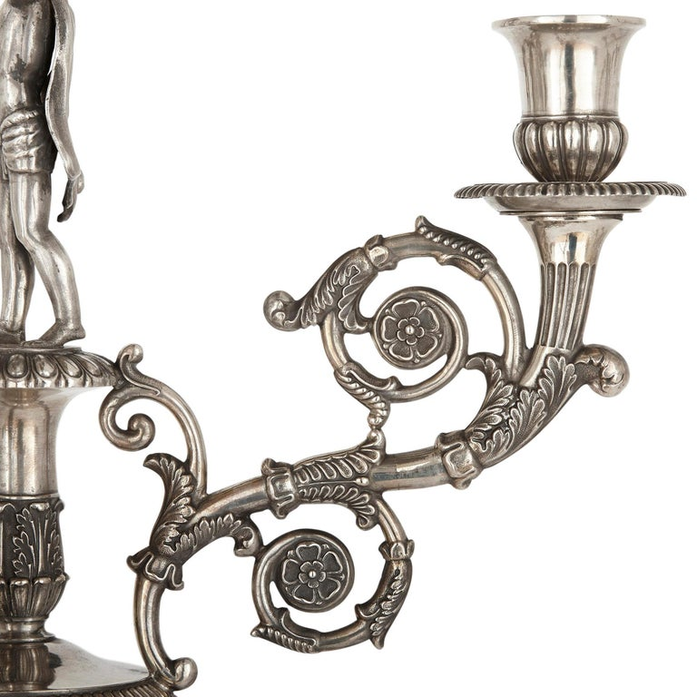 German Empire Period Seven-Piece Silver Candelabra Set For Sale 1
