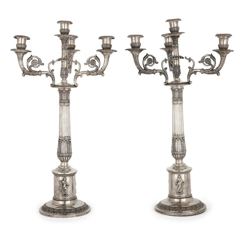 German Empire Period Seven-Piece Silver Candelabra Set For Sale 5