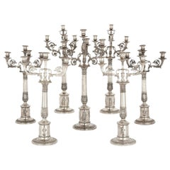 German Empire Period Seven-Piece Silver Candelabra Set