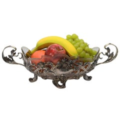 German Export Post War Silver and Leaded Glass Fruit Bowl