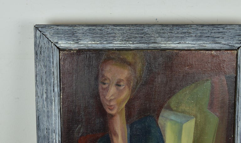English German Expressionist Style Portrait Painting, circa 1940