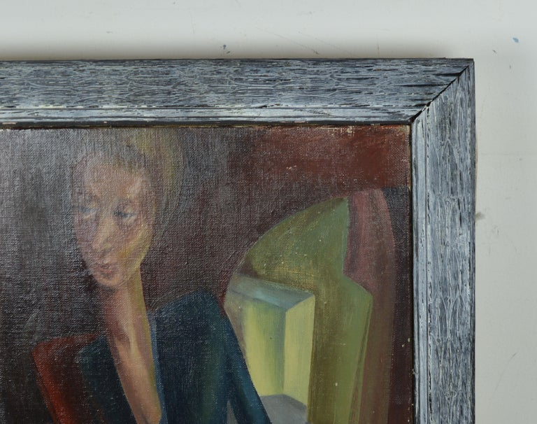Limed German Expressionist Style Portrait Painting, circa 1940