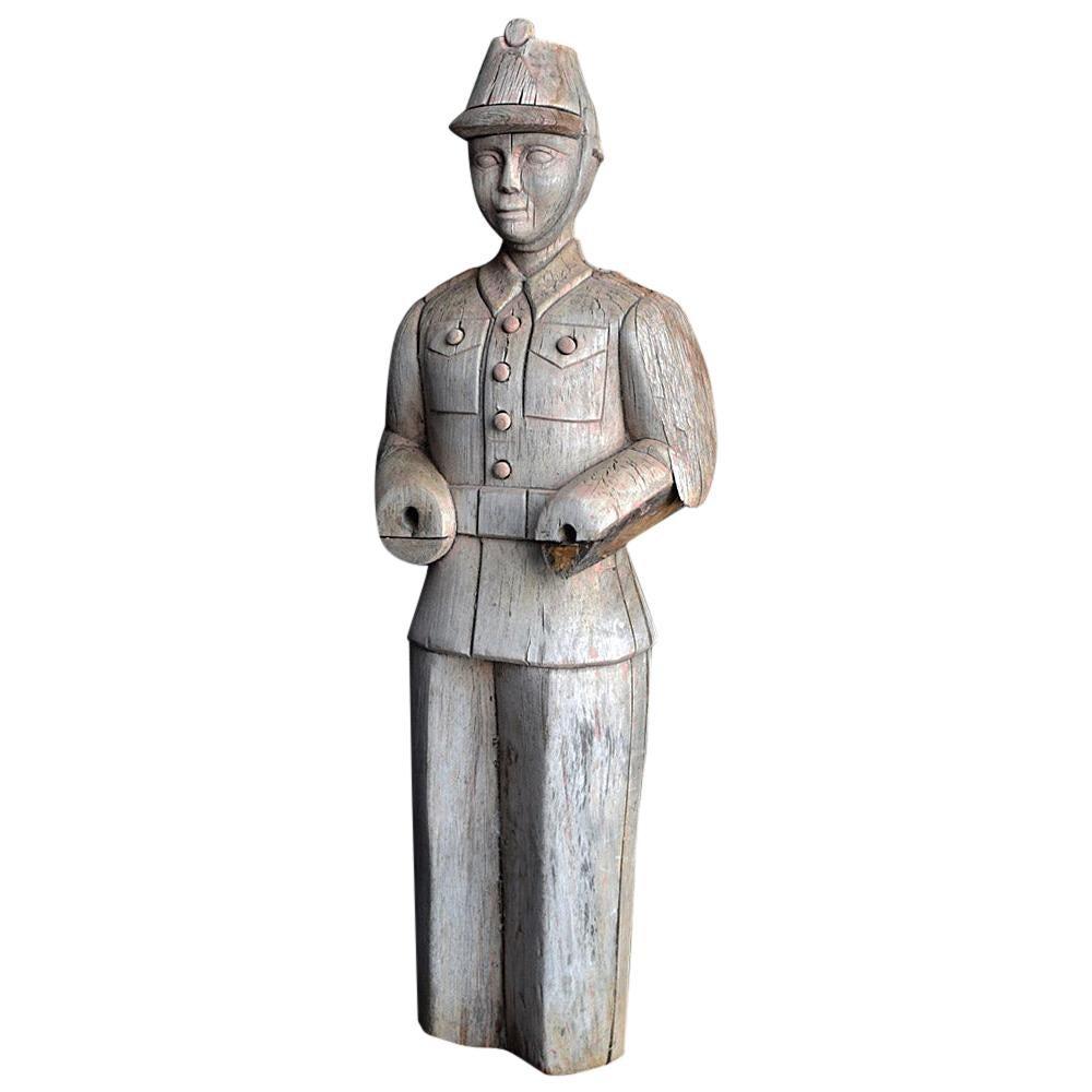 German Fairground Wilhelm Hennecke Carved Firemen Figure, circa 1950
