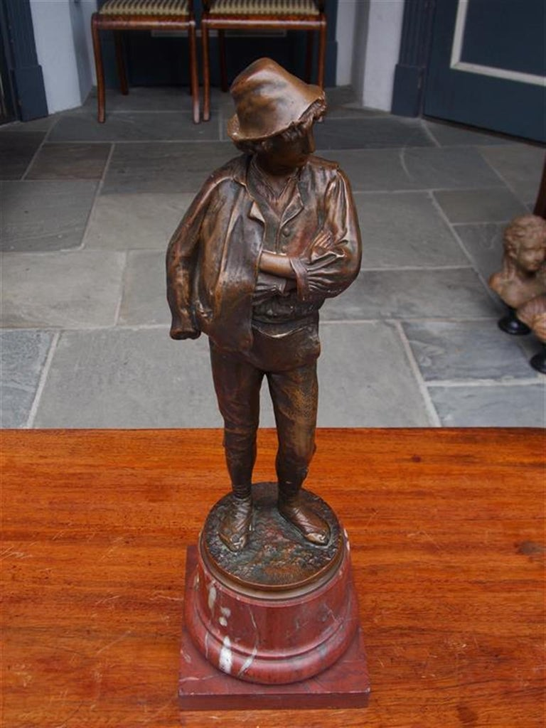Late 19th Century German Figural Young Roman Bronze Mounted on Rouge Marble Base, Circa 1885 For Sale