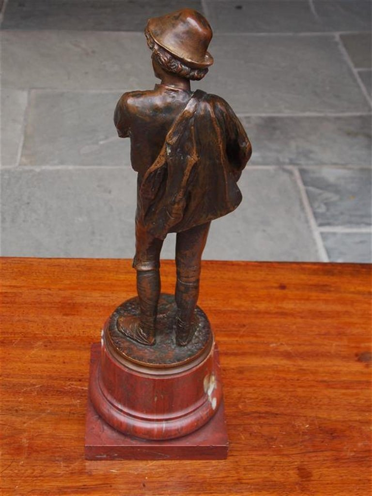 German Figural Young Roman Bronze Mounted on Rouge Marble Base, Circa 1885 For Sale 1