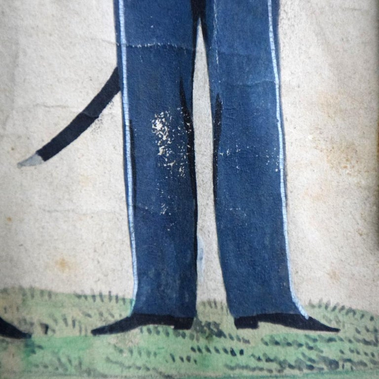 German Folk Art Naïve Military Painting, circa 1870 For Sale 7