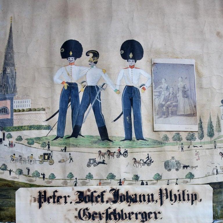 German Folk Art Naïve Military Painting, circa 1870 For Sale 10