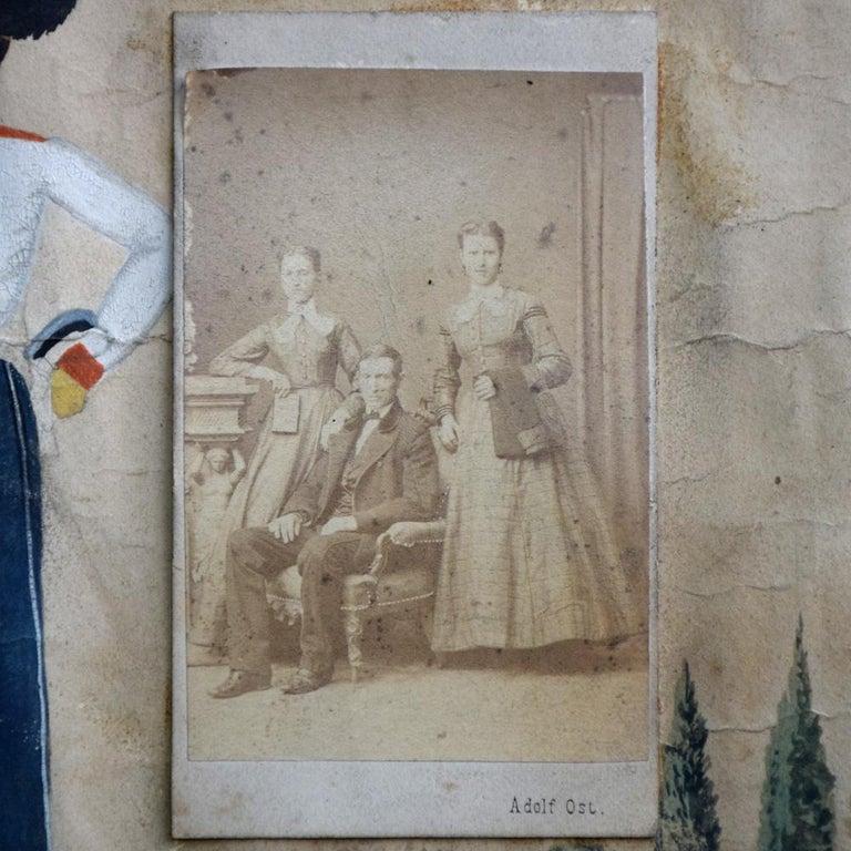 Paper German Folk Art Naïve Military Painting, circa 1870 For Sale