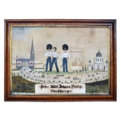 German Folk Art Naïve Military Painting, circa 1870
