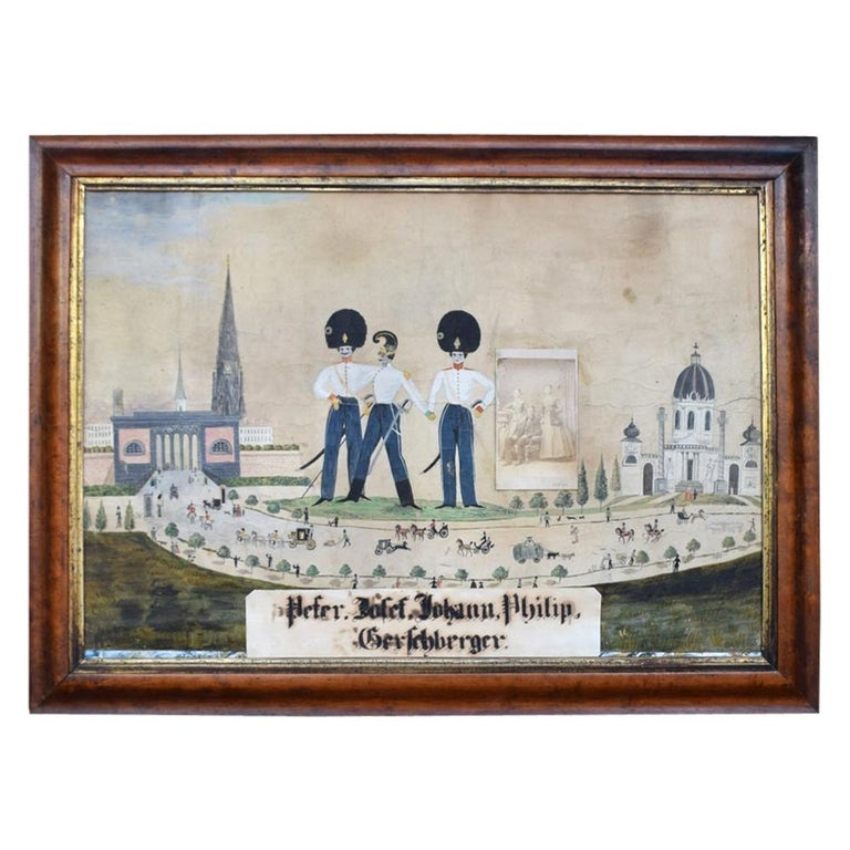 German Folk Art Naïve Military Painting, circa 1870 For Sale