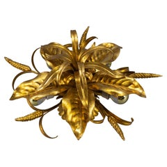 German Gilt Metal Flower Shaped Flush Mount with Wheat Ears by Hans Kögl, 1970s