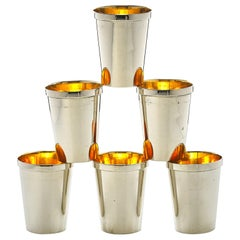 German Gilt-Silver Shot Glasses, Set of 6