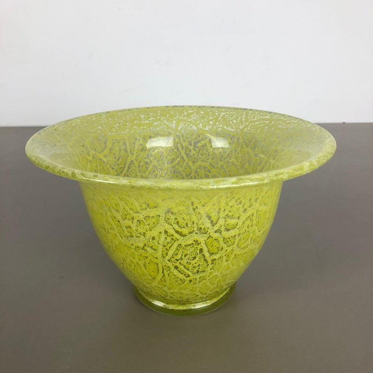 German Glass Vase by Karl Wiedmann for WMF Ikora, 1950s Bauhaus Art Deco For Sale 4